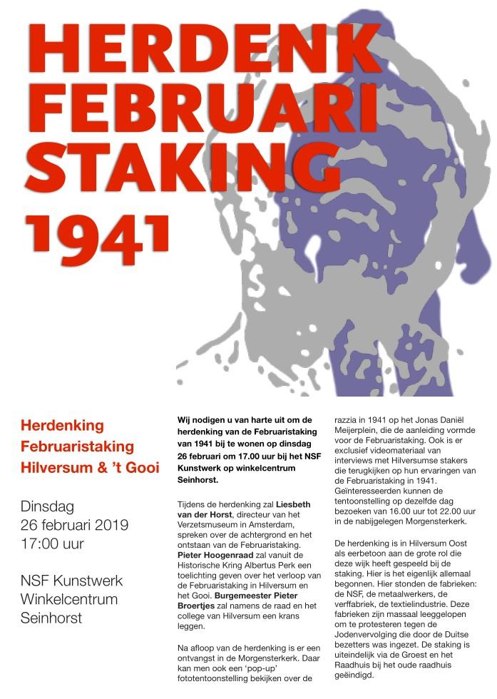 Dinsdag 26 februari 2019 Herdenking Februaristaking Hilversum & 't Gooi